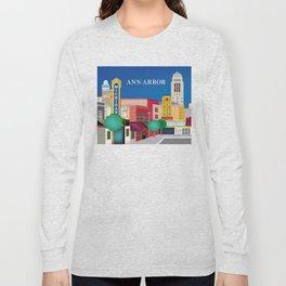 Ann Arbor, Michigan - Skyline Illustration by Loose Petals Long Sleeve T-shirt