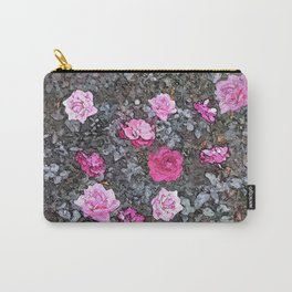 Rosebush Pink Rose Flowers Floral Painting Carry-All Pouch