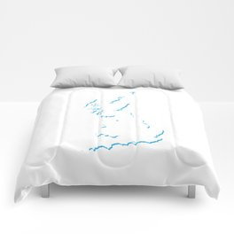 Great Britain Silhouette Shadow Map Art in Bright Blue Comforters
