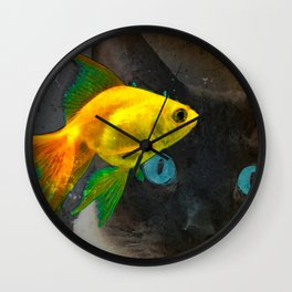 Wishful Thinking - Cat and Fish Art By Sharon Cummings Wall Clock