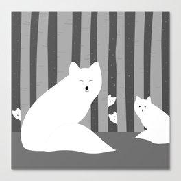 White foxes Canvas Print