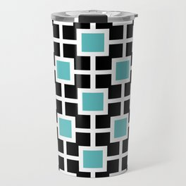 Classic Hollywood Regency Pattern 221 Turquoise and Black Travel Mug
