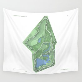 Brooklyn Prospect Park Map (Green) Wall Tapestry