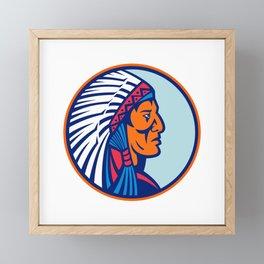 Cheyenne Chief Head Mascot Framed Mini Art Print