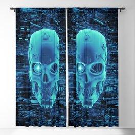 Gamer Skull BLUE TECH / 3D render of cyborg head Blackout Curtain