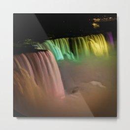 Niagara Falls Illumination Yellow Metal Print
