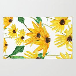 yellow sun choke flower Rug