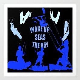Wake Up Seas The Day Kiteboarder Royal Blue Art Print
