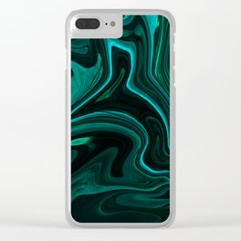 Teal Liquefy Pattern Clear iPhone Case