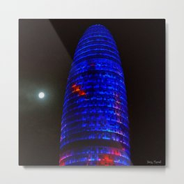 The moon and the tower 2  #oilpainting Metal Print
