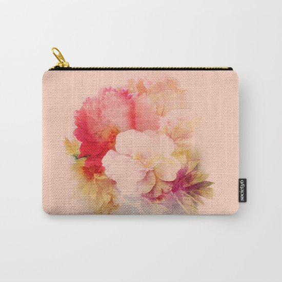 flowers on salmon background Carry-All Pouch