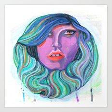 Pretty Oceanic Ombre Face Art Print