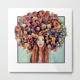 Flower Head Girl Design Metal Print
