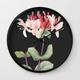 Honeysuckle on Charcoal Wall Clock