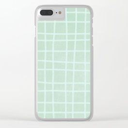 Light Blue Grid Pattern Clear iPhone Case