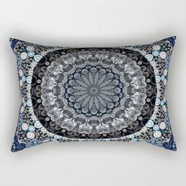 Dark Blue Grey Mandala Design Rectangular Pillow