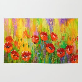 Poppies in a field Rug