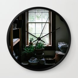 Vintage Pantry With Plants Wall Clock