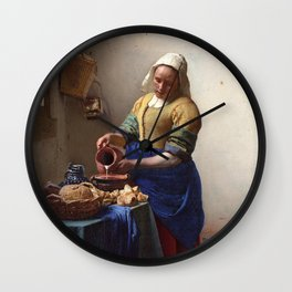 Jan Vermeer-The Milkmaid Wall Clock