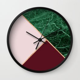 Green Marble with burgundy Wall Clock