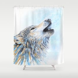 """""""Howling"""" Watercolor Wolf Shower Curtain"""