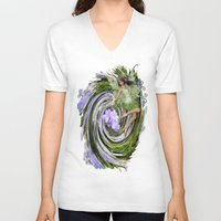 pixies V-neck T-shirts featuring Green Flower fairy by Just Kidding