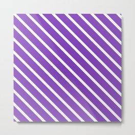 Lavender Purple Diagonal Stripes Metal Print