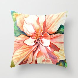 Double Peach Tropical Hibiscus Throw Pillow
