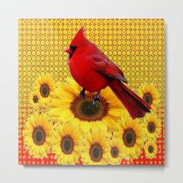 RED CARDINAL YELLOW SUNFLOWERS ART Metal Print