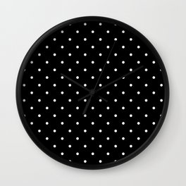 Small White Polka Dots with Black Background Wall Clock