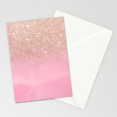Modern rose gold glitter ombre hand painted pink watercolor Stationery Cards