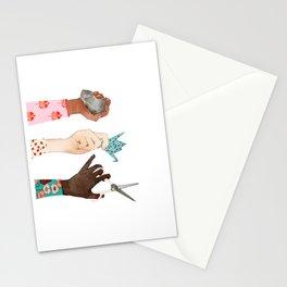 Peace Art, Women Art, Girls Rule Watercolor, Folk Pattern Stationery Cards