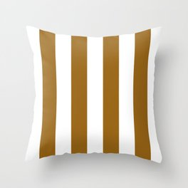Vertical Stripes - White and Golden Brown Throw Pillow