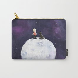 Boy and the Chocolate dog on the Moon Carry-All Pouch