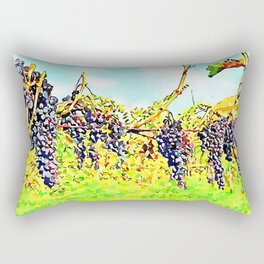 Hortus Conclusus: bunches of black grapes in the vineyard Rectangular Pillow