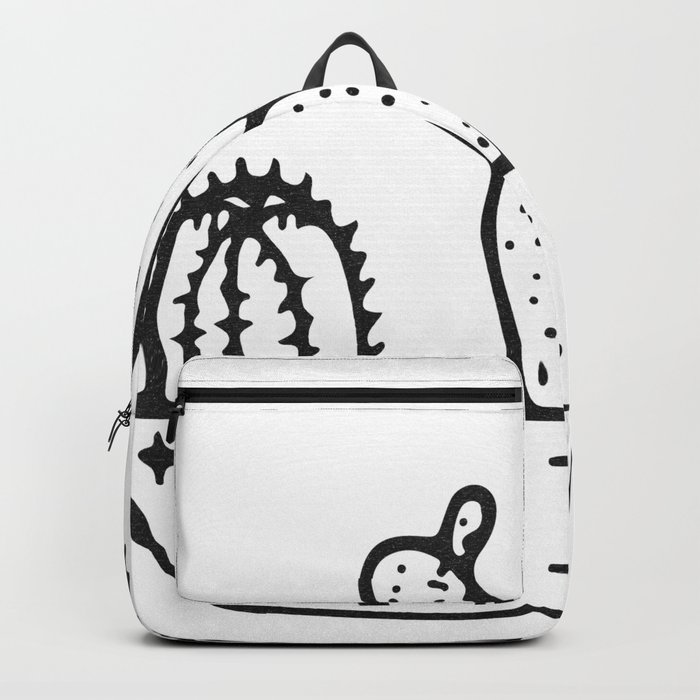 Cactus House Garden Black and White Backpack