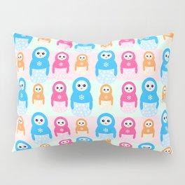 Winter matrioshka candy penguins pattern Pillow Sham