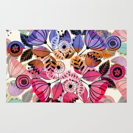 Pink and indigo flower pattern Rug