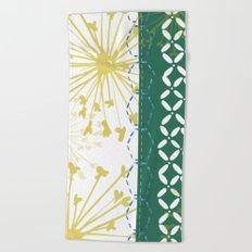 Boho dandelion green and yellow Beach Towel