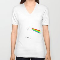 dark side of the moon V-neck T-shirts featuring Dark Side of the Moon by Nerdiful Art