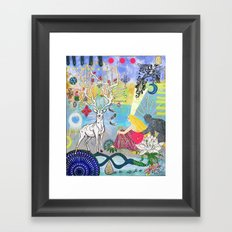 The Lovers and the blue deer  Framed Art Print