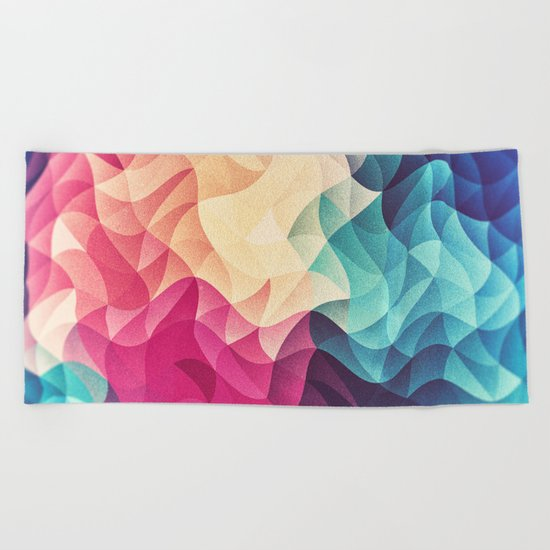Geometry Triangle Wave Multicolor Mosaic Pattern - (HDR - Low Poly Art) Beach Towel