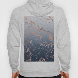 Modern grey navy blue ombre rose gold marble pattern Hoody