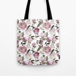 Scattered Vintage Soft Pink Blossom on Elegant White  Tote Bag
