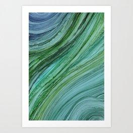 Green Agate Geode Slice Art Print