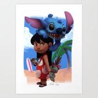 lilo and stitch Art Prints featuring Lilo & Stitch by Archiri Usagi