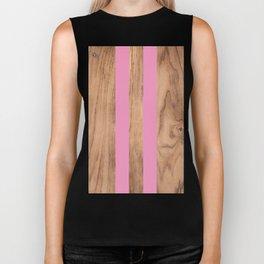Wood Grain Stripes - Pink #787 Biker Tank