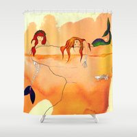mermaids Shower Curtains featuring Mermaids by Leah Gonzales