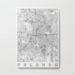 Orlando Map Line Metal Print