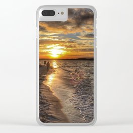Sunbathing in the Winter time Clear iPhone Case